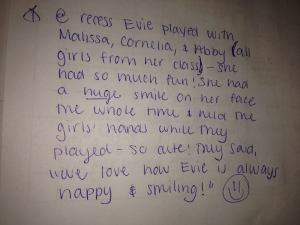 evie note school