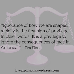 "grey background with faded scales.  text reads,""""Ignorance of how we are shaped racially is the first sign of privilege. In other words. It is a privilege to ignore the consequences of race in America.""  ― Tim Wise"