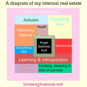 "The title of the image is, ""A diagram of my internal real estate.""  There is a pink frame around a bunch of multi colored squares and rectangles.  The Pink frame is labeled, "" Love & Happiness"", The light blue square is labeled, ""activism"", the Yellow square is labeled, ""parenting Evie, the Orange square is labeled, ""parenting maxine, the mauve square is labeled health, the blue rectangle is labeled, ""everything else"", the red rectangle is labeled, ""relationships"" the maroon rectangle is labeled, ""learning and introspection', the purple rectangle is labeled, ""leisure and pleasure"", the green rectangle is labeled, ""cooking, cleaning and acts of surivival.""  In the center there is a black square labeled ""anger Sadness Hurt.""  It is framed by a moss green colored frame labeled ""selflessness""."